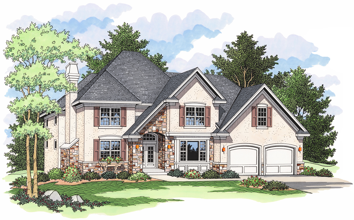 Sweeping roofline with garage options 14318rk for Architecturaldesigns com house plan 56364sm asp
