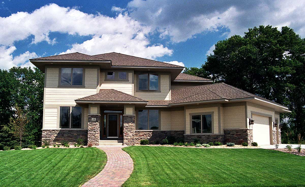 Prairie style house plan with angled garage 14410rk for Prairie style house plans