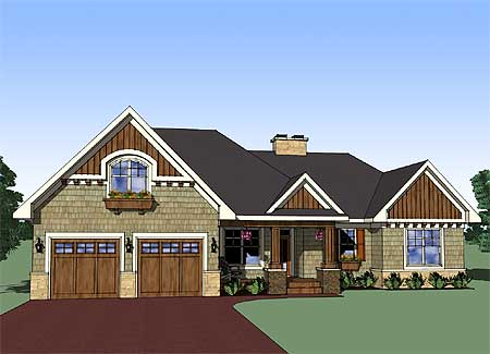 Attractive 3 bedroom rambler 14565rk 1st floor master for Craftsman rambler house plans