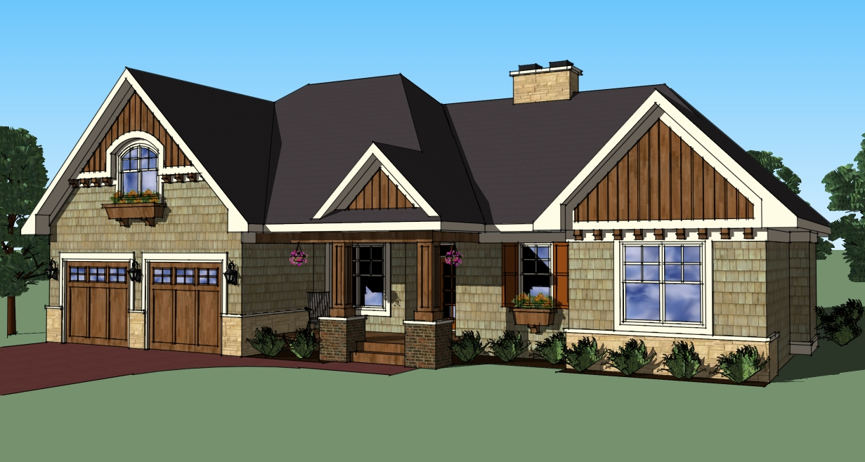 Attractive 3 bedroom rambler 14565rk architectural for Rambler home designs