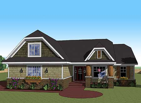 One Story Craftsman Home Plan 14566rk 1st Floor Master