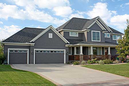 Farmhouse aesthetic with 3 car garage 14582rk Triple car garage house plans