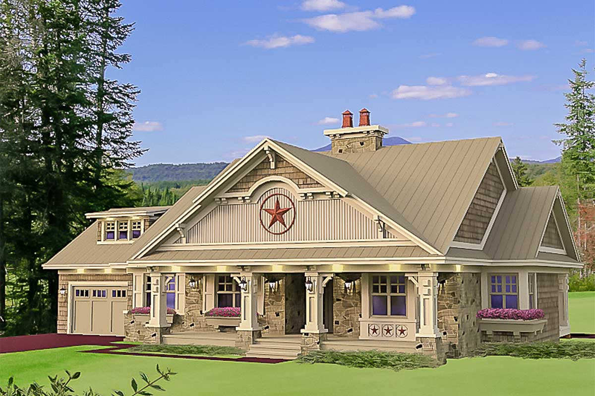 Stylish stone craftsman cottage 14601rk architectural for Craftsman cottage house plans