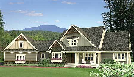 Craftsman home plan with angled 4 car garage 14605rk for 4 car garage house plans