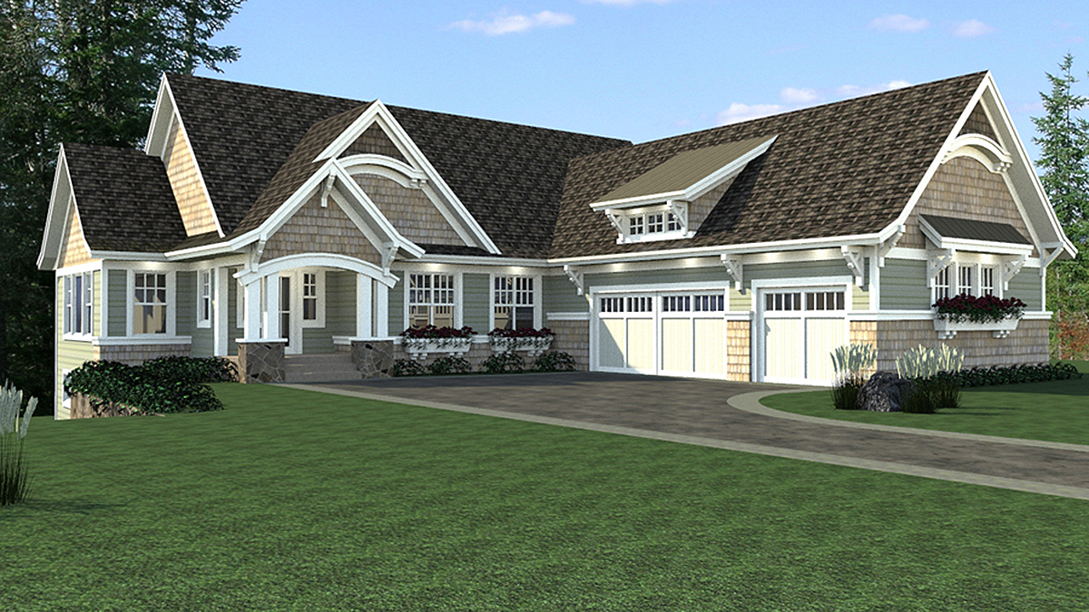 Craftsman House Plan With Sports Court 14625rk
