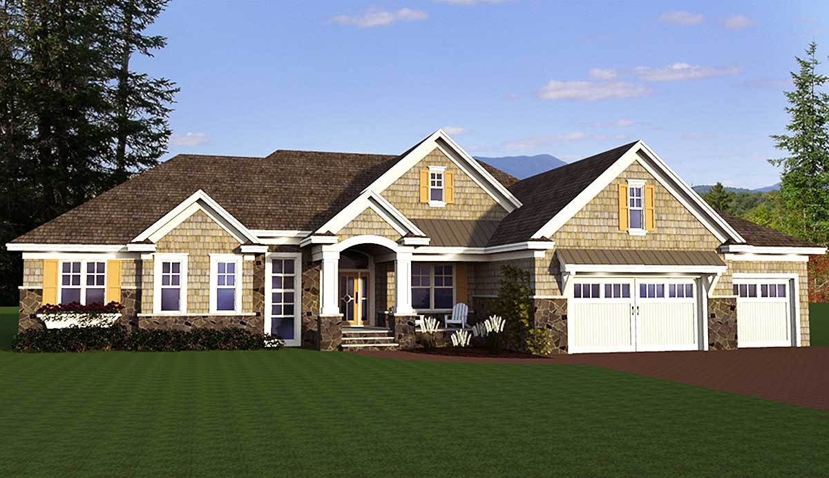 Shingle style ranch house plan 14626rk architectural for Shingle home plans