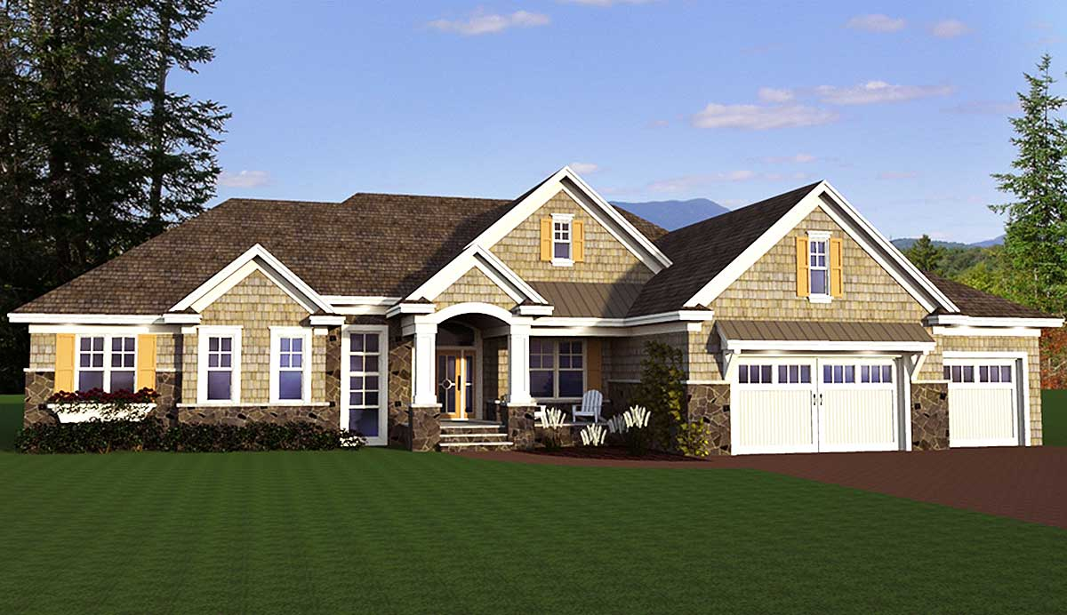 Shingle style ranch house plan 14626rk 1st floor for Northwest craftsman style house plans