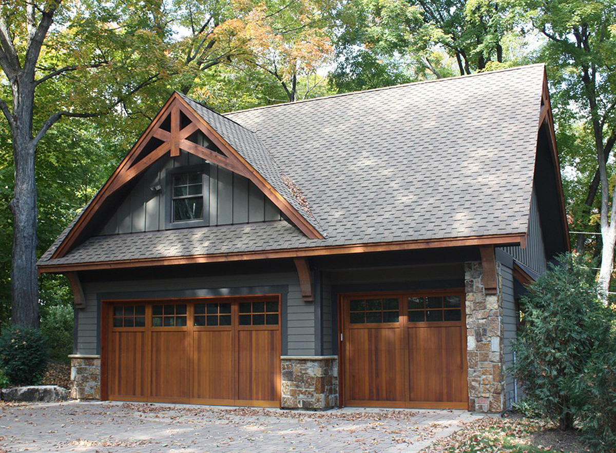 Rugged garage with bonus room above 14630rk for Two car garage plans with bonus room