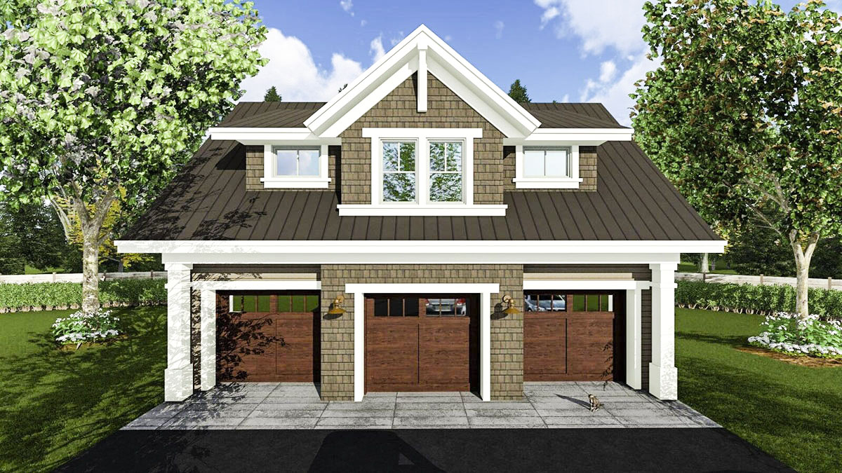 3 car garage apartment with class 14631rk for Three car garage house plans