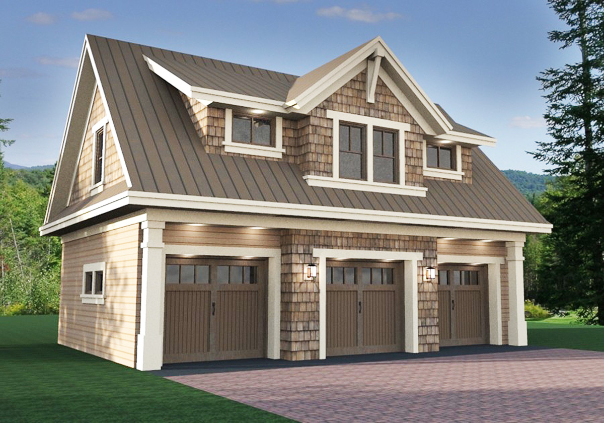 3 car garage apartment with class 14631rk 2nd floor for Large garage plans