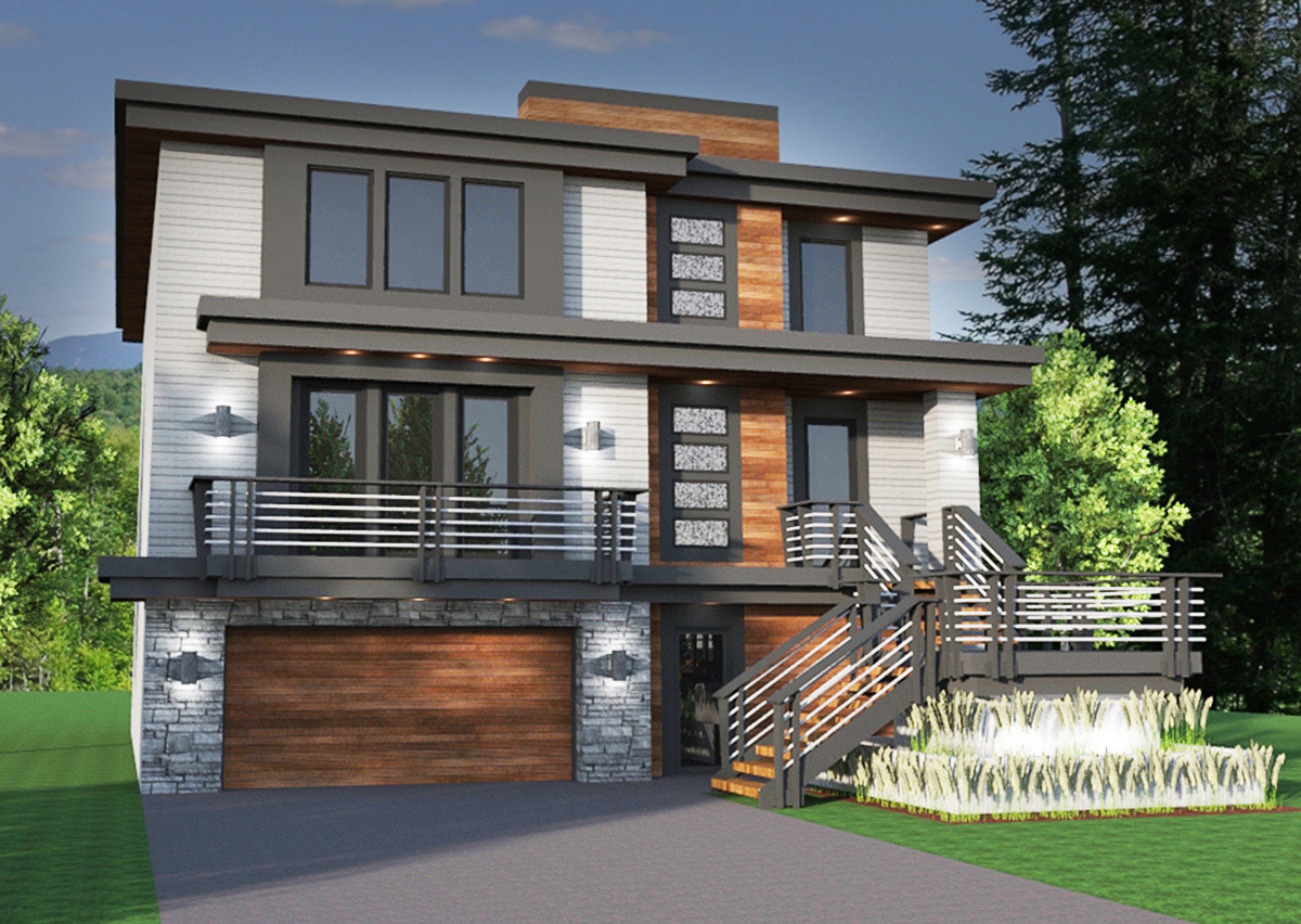 Master On Main Modern House Plan 14633RK