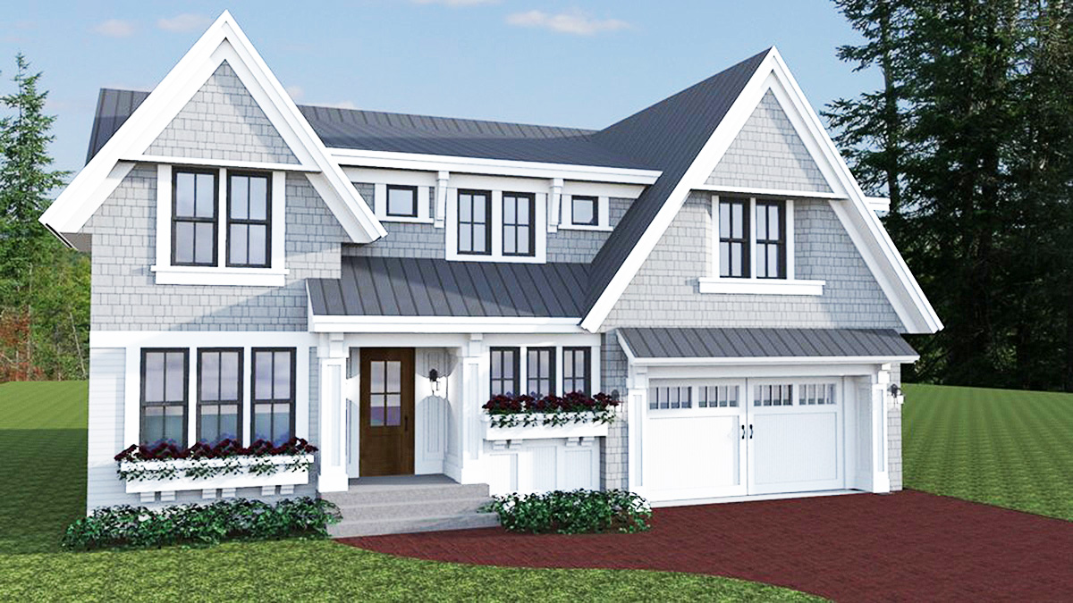 Family friendly shingle style house plan 14637rk for Shingle house plans