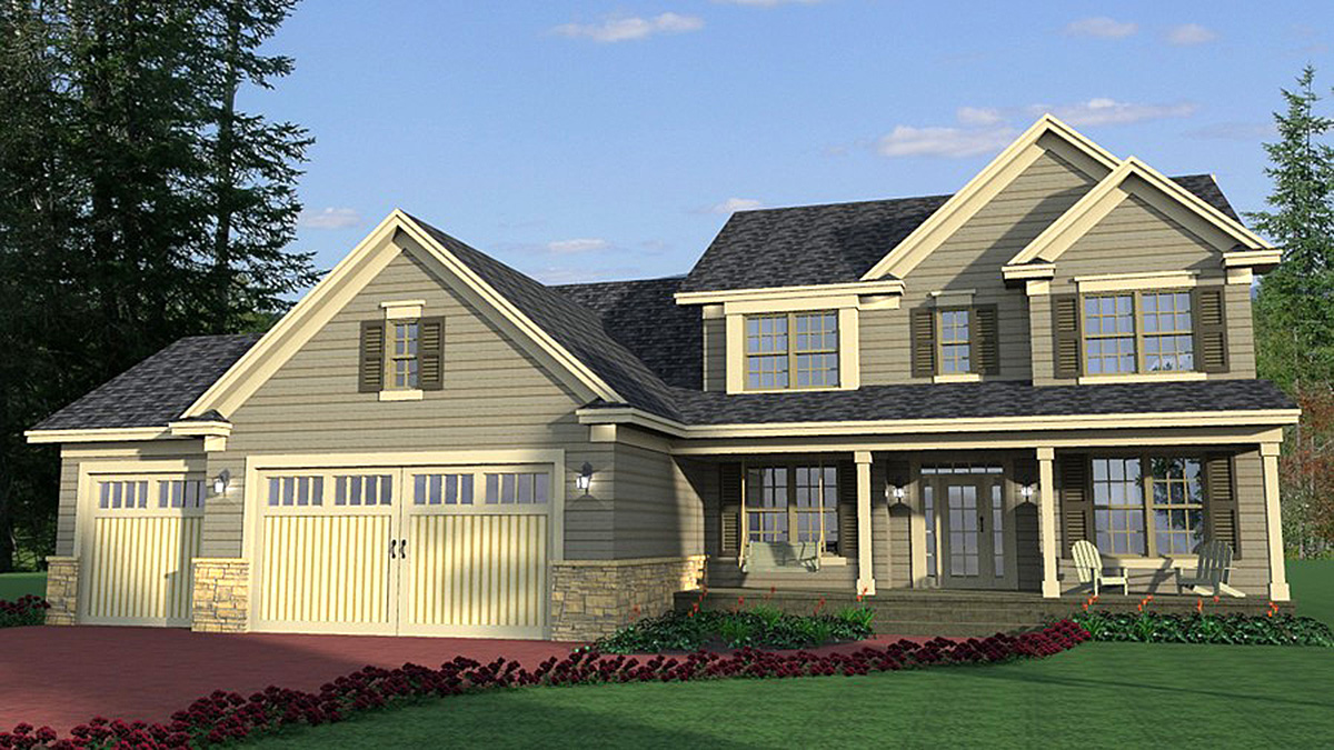 Open layout traditional house plan 14645rk for Traditional farmhouse plans
