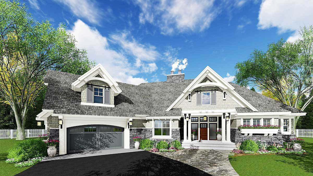 exciting craftsman house plan 14651rk architectural designs