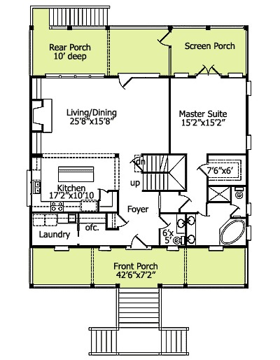 Classic low country home plan 15007nc 1st floor master for Low country floor plans