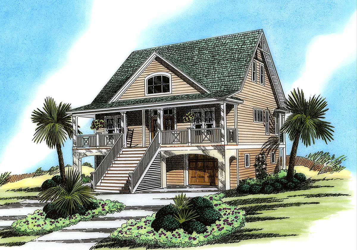 Elevated cutie 15008nc 1st floor master suite beach for Beach house plans with garage underneath