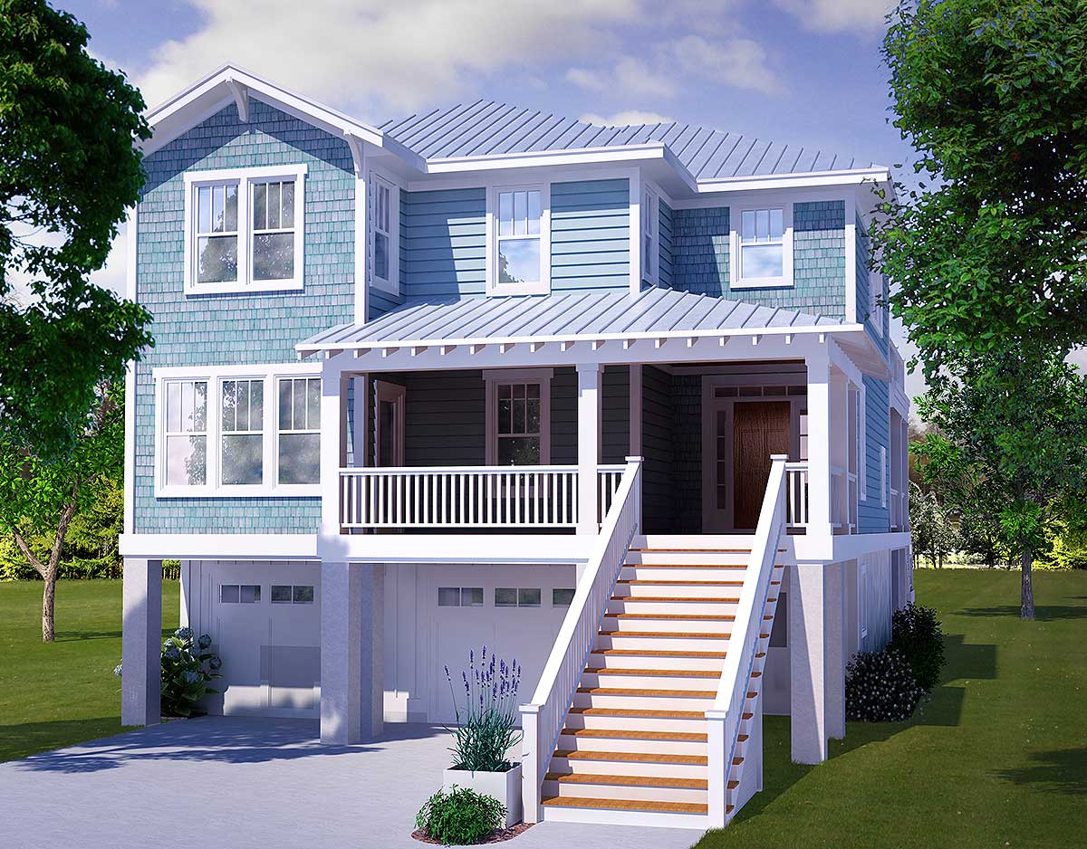 Four bedroom beach house plan 15009nc 2nd floor master for Two story beach house plans