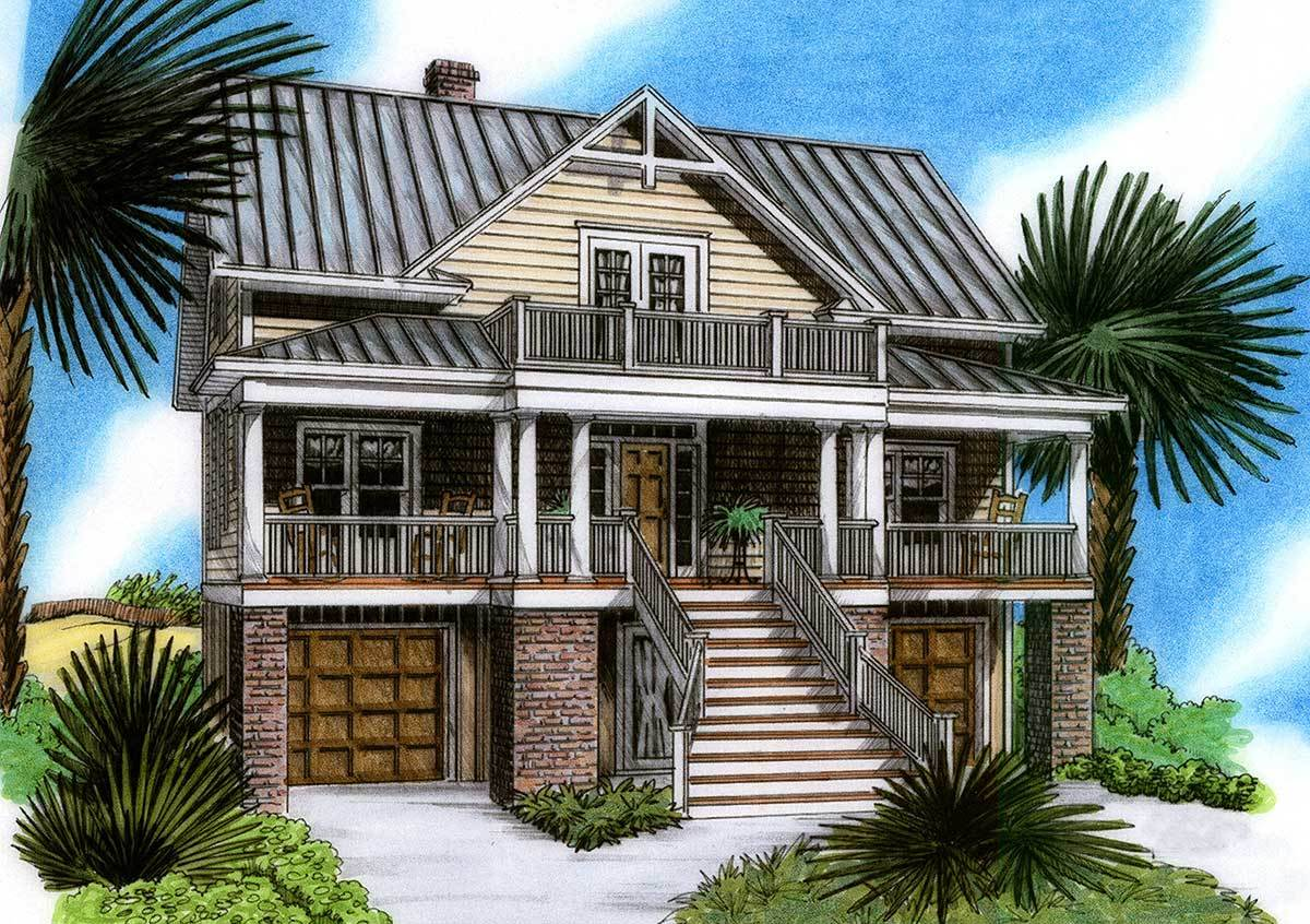 Raised beach house delight 15019nc architectural for House plans elevated