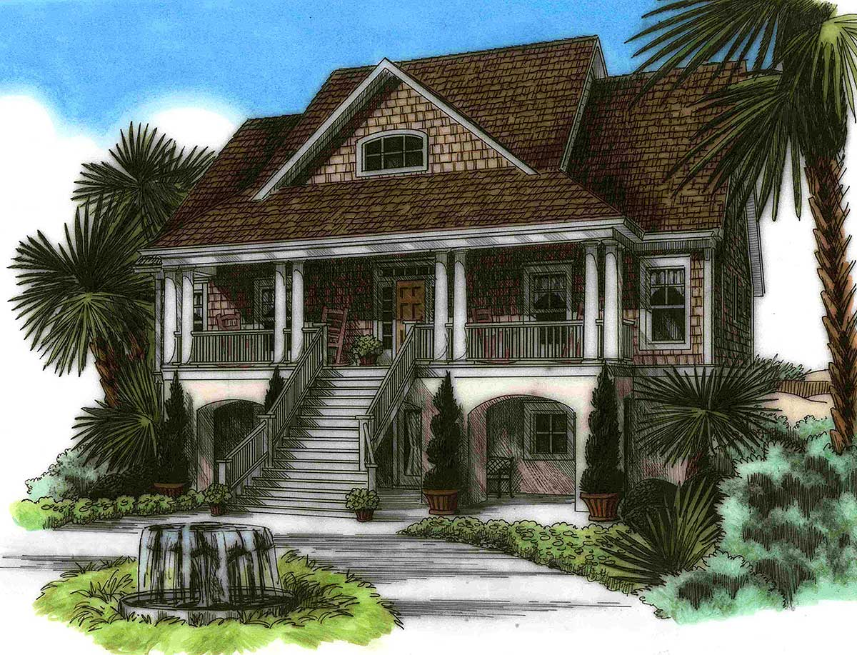 15021nc 1st floor master suite beach cad available for Beach house plans with garage underneath