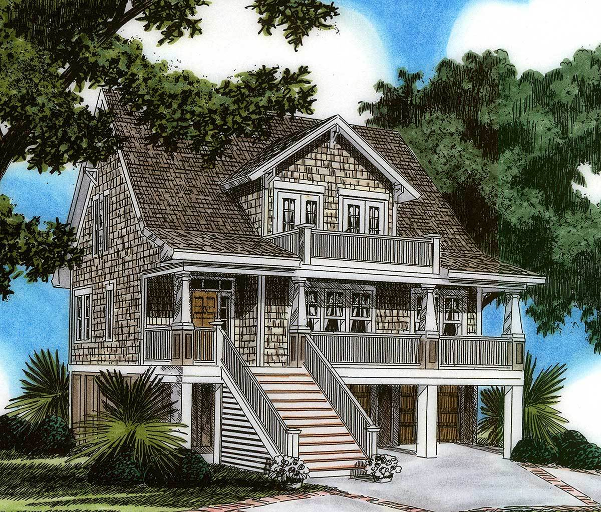 Raised house plan living 15023nc architectural designs for Elevated floor plans
