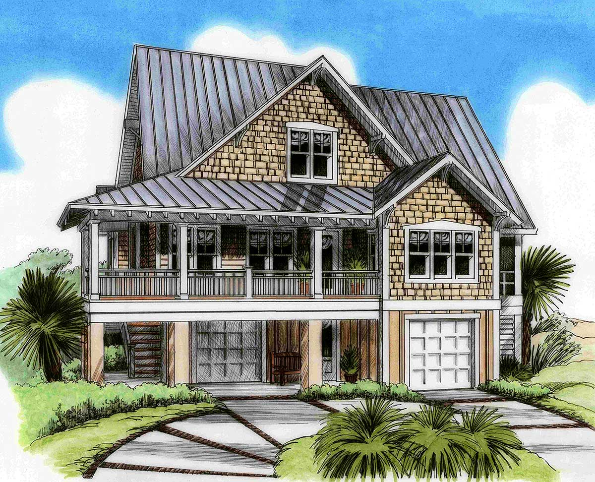 Three level beach house plan 15026nc 1st floor master for Beach house plans with garage underneath