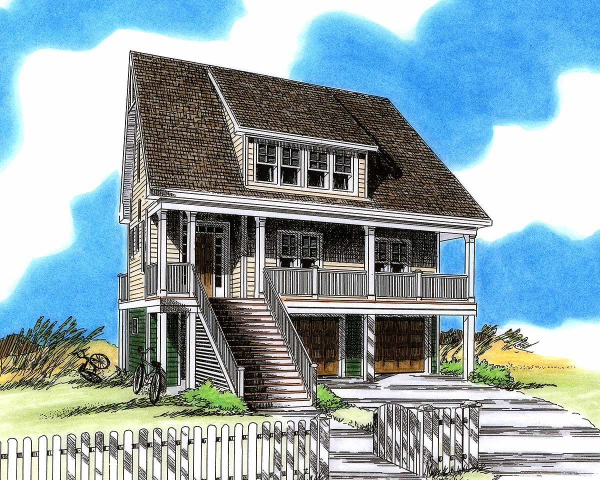 Low country beach home 15028nc 2nd floor master suite for Beach house plans with garage underneath