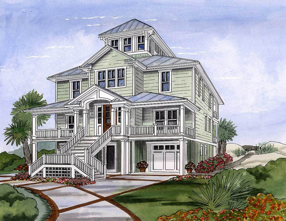 Beach house plan with cupola 15033nc architectural for Cupola house