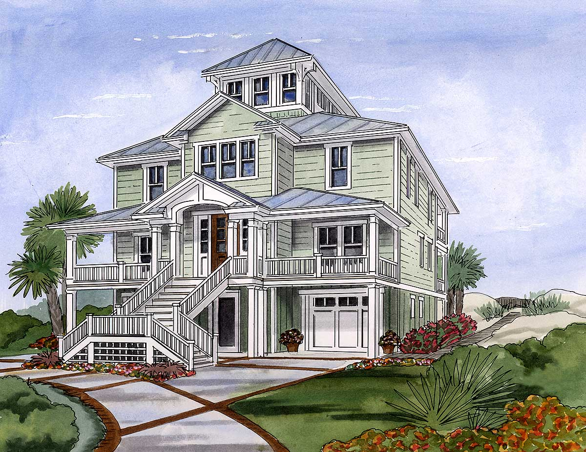 Beach house plan with cupola 15033nc 2nd floor master for Beach home plans with elevators