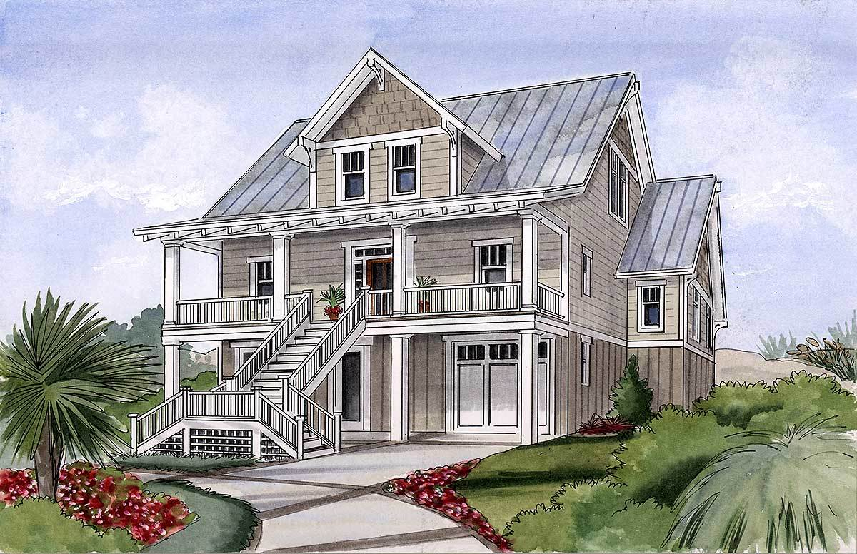 Beach house plan for narrow lot 15034nc architectural for Coastal house plans