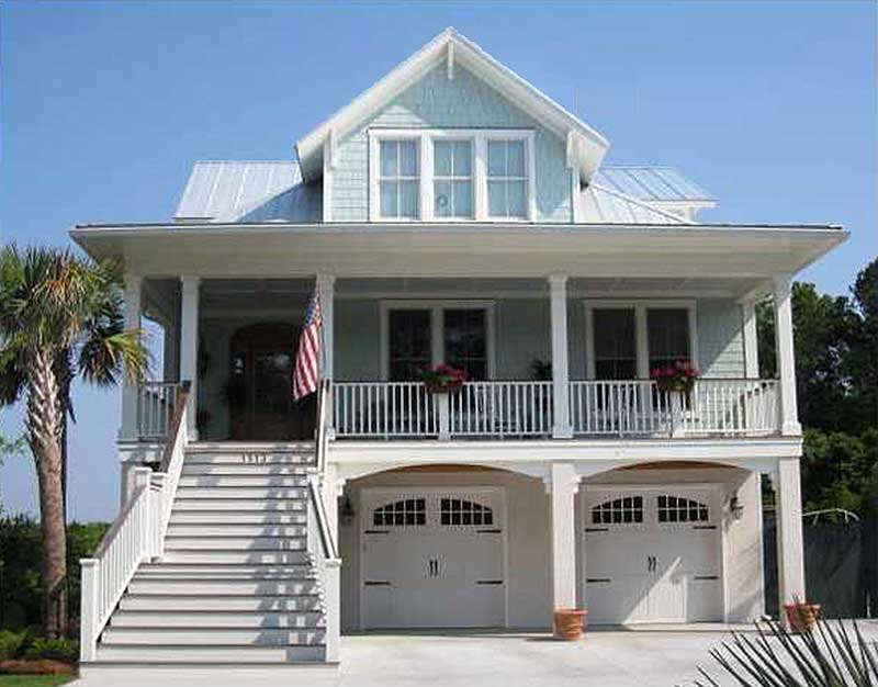 Narrow Lot Beach House Plan NC