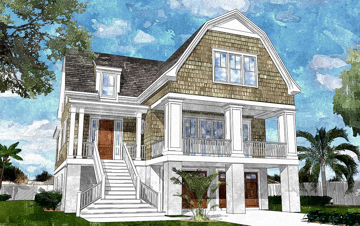 Gambrel roofed shingle style house plan 15039nc for Shingle house plans