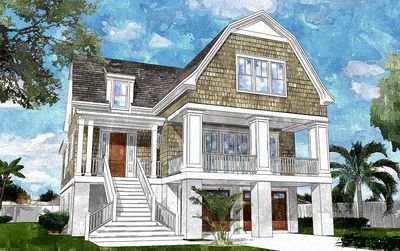 Gambrel-Roofed Shingle Style House Plan - 15039NC thumb - 01