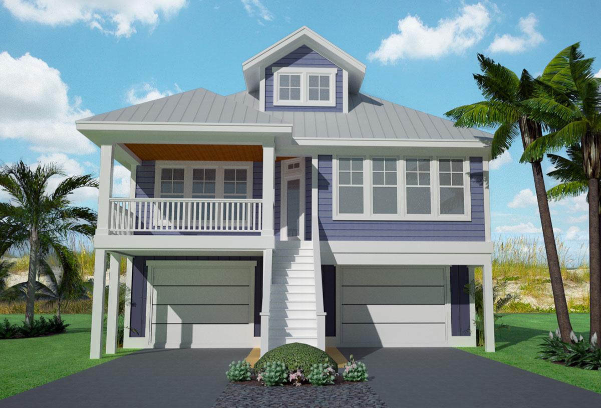 Narrow lot low country home plan 15061nc architectural for Beachfront house plans
