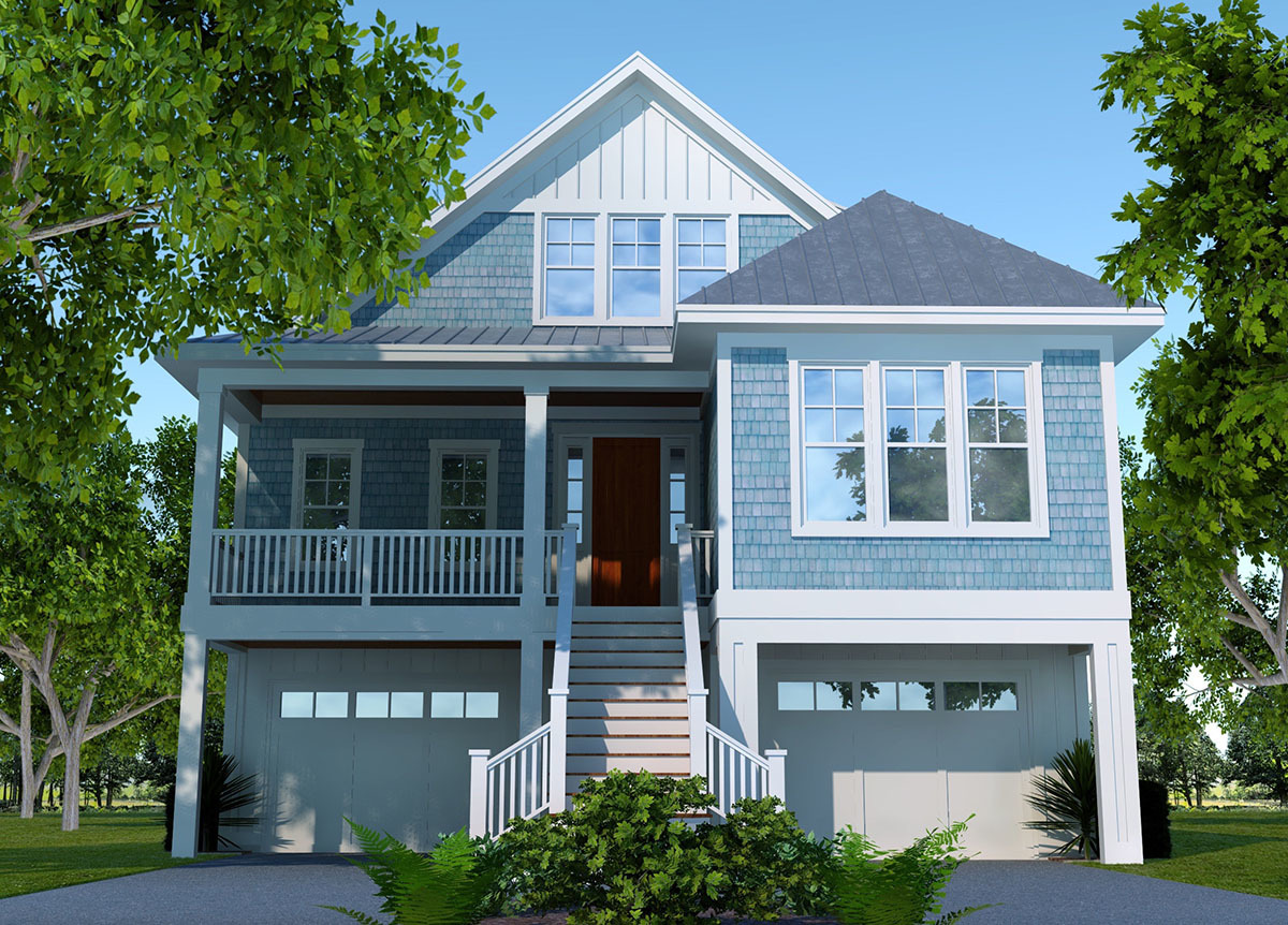 Elevated 4 bed cottage house plan 15064nc for Raised house plans