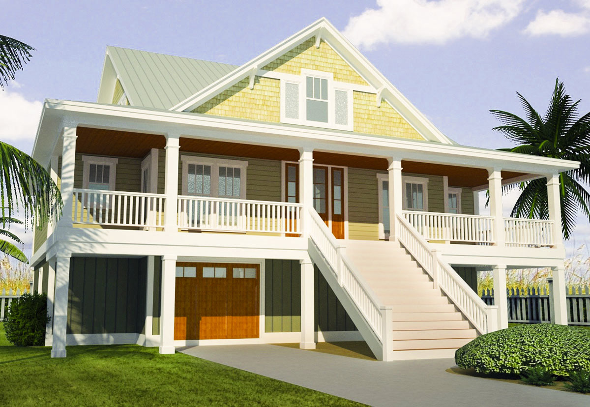 Beach home plans with wrap around porch for Beach home plans with wrap around porch