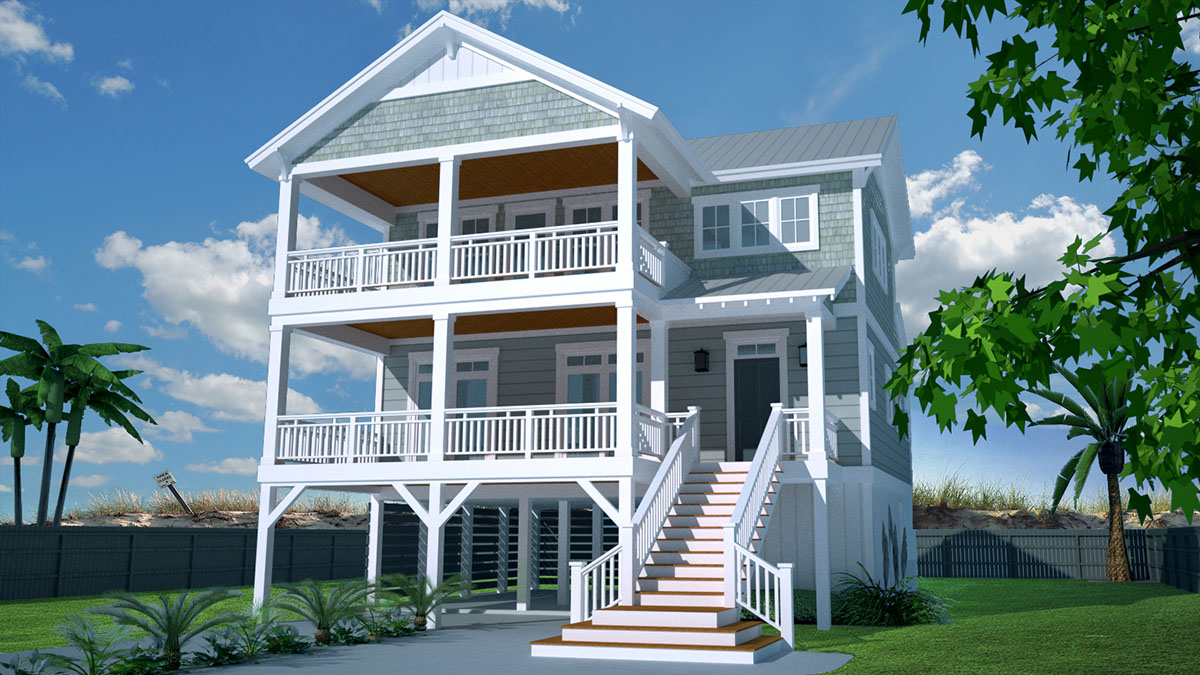 Casual beach house plan 15072nc architectural designs for Elevated house plans beach house