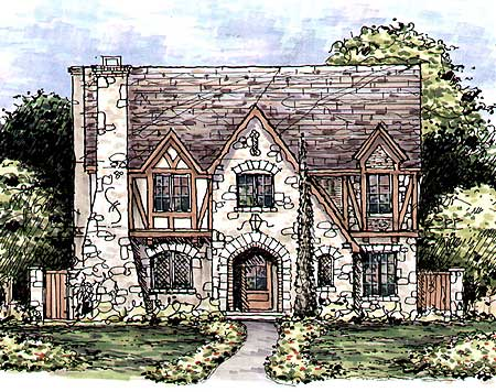 Huge tudor home plan 15336hn 2nd floor master suite for English tudor house plans