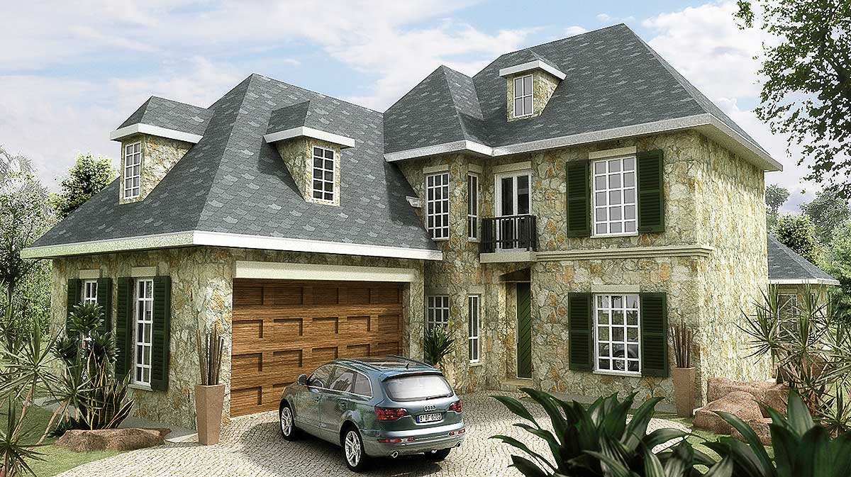narrow lot european home plan 15382hn 1st floor master