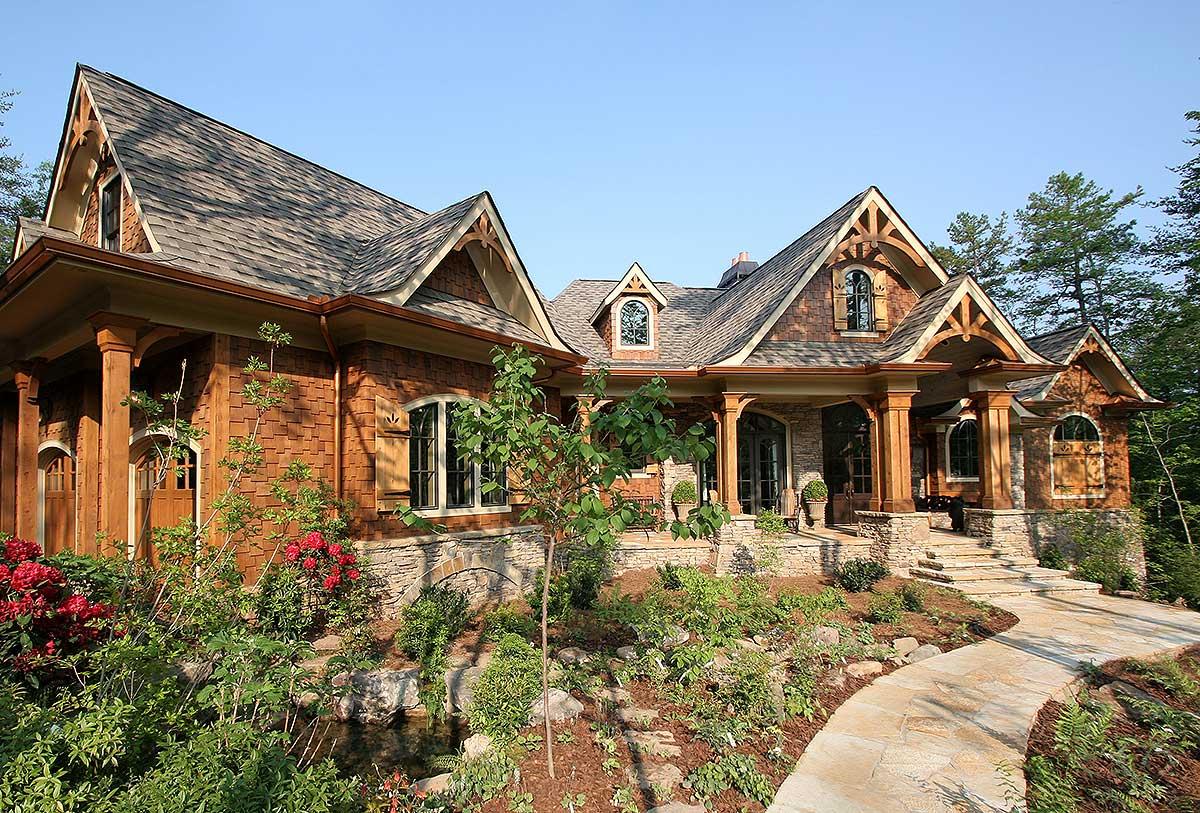 Stunning rustic craftsman home plan 15626ge craftsman Luxury mountain house plans