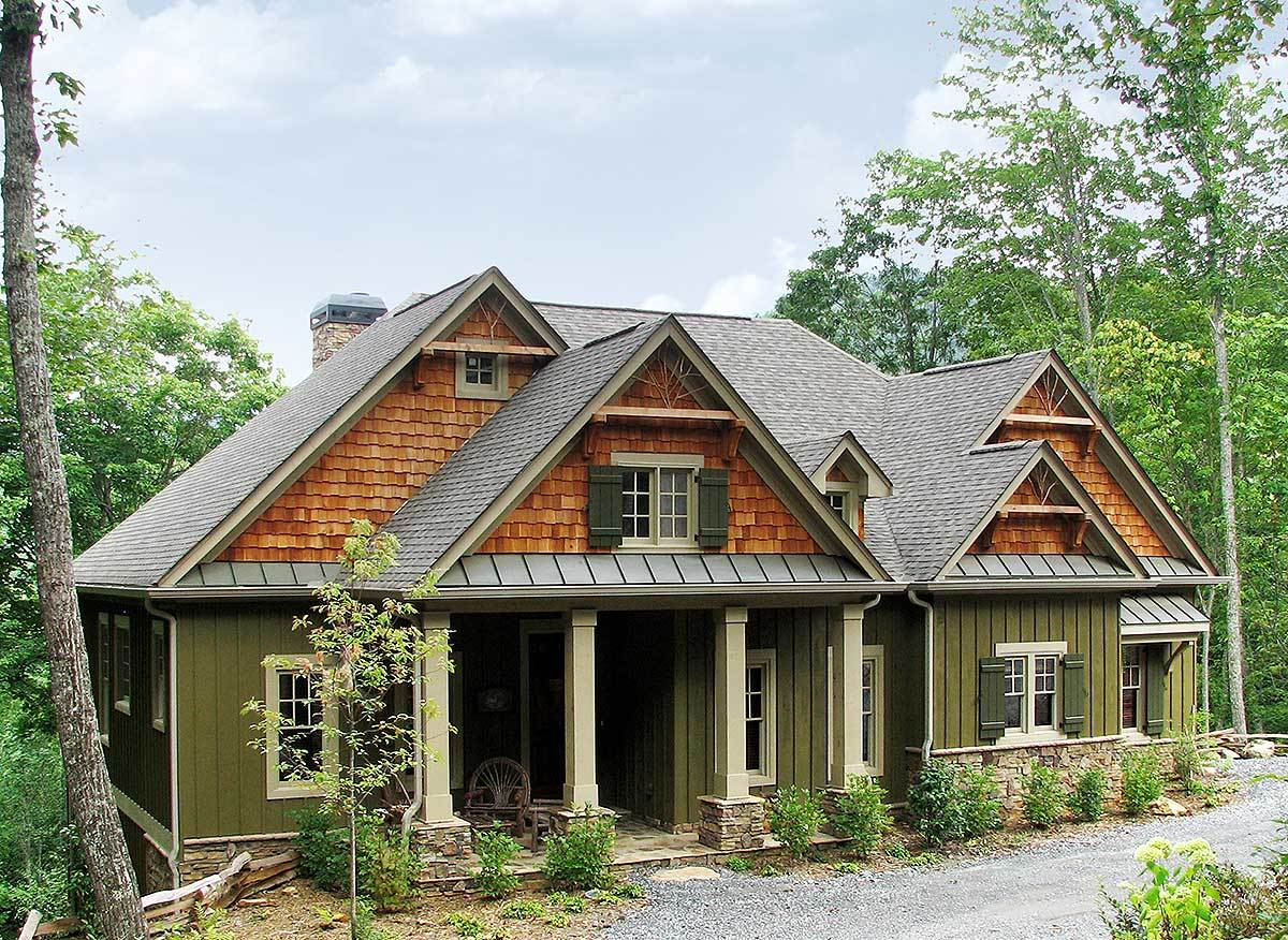 Rustic lodge home plan 15655ge 1st floor master suite for Rustic mountain home designs