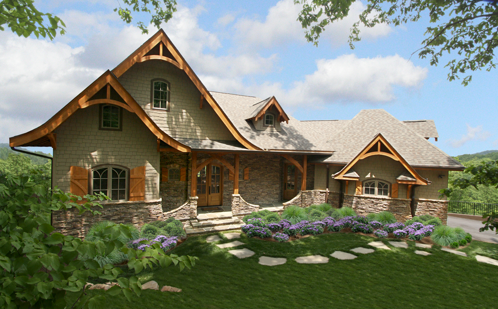 Vaulted lodge room and sweeping views 15703ge 1st for Mountain luxury home plans