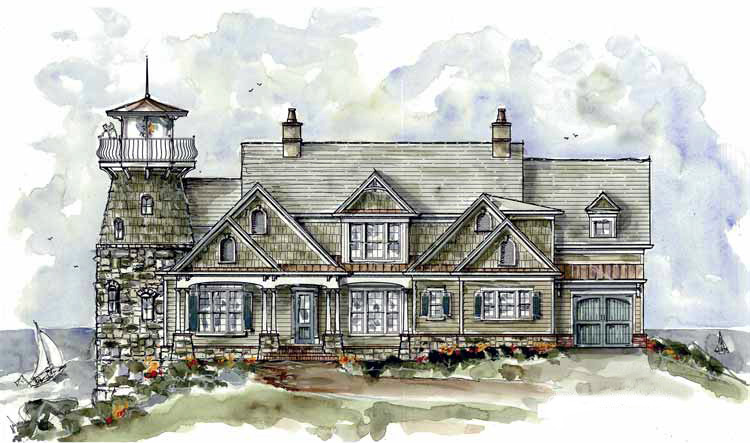 Shingle style home plan with lighthouse 15722ge for Lighthouse home designs