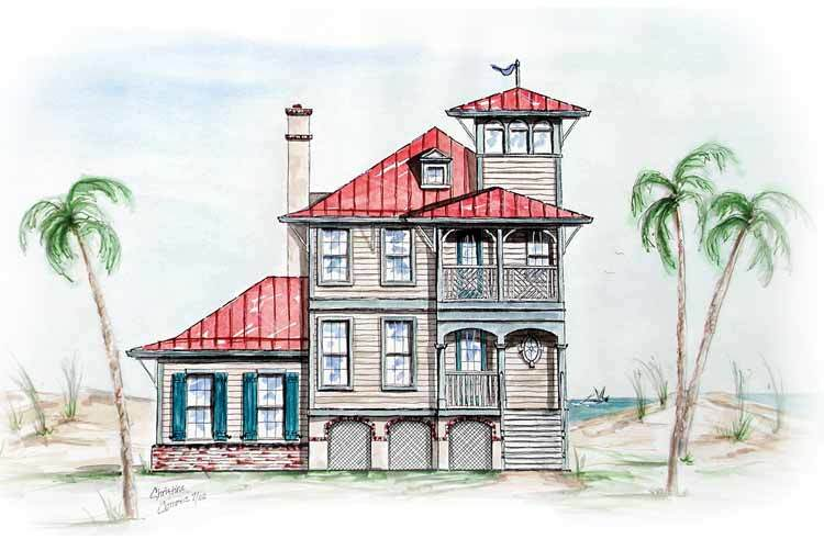 Beach house with tower lookout 15725ge architectural for Tower home plans