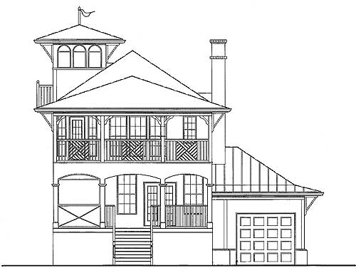 Beach house with tower lookout 15725ge 2nd floor for Tower house plans
