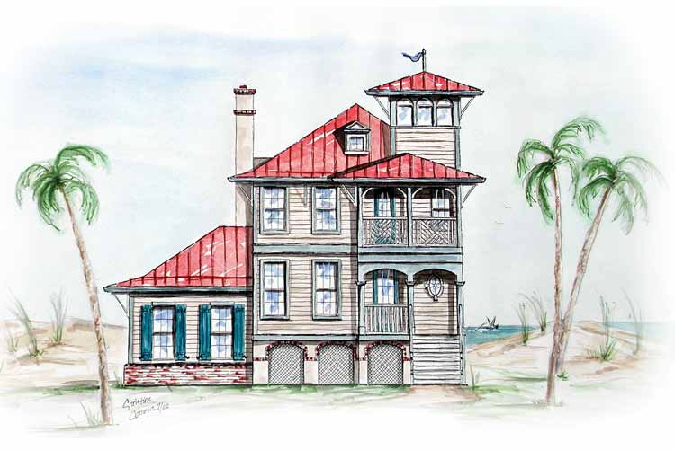 Beach house with tower lookout 15725ge architectural for Tower house plans