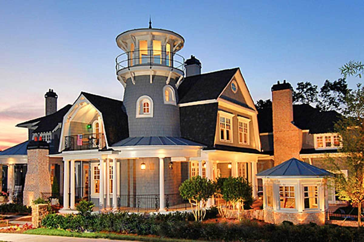 Shingle style classic with lighthouse tower 15756ge for Lighthouse home plans