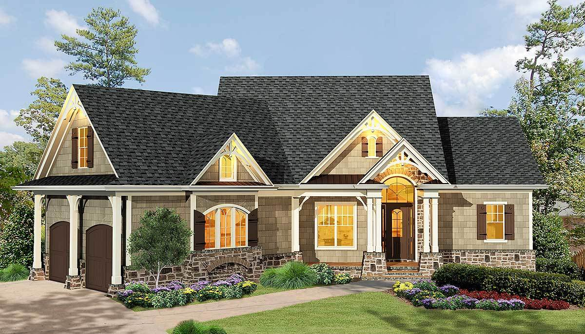 Gabled 3 bedroom ranch home plan 15884ge architectural for Large ranch house plans