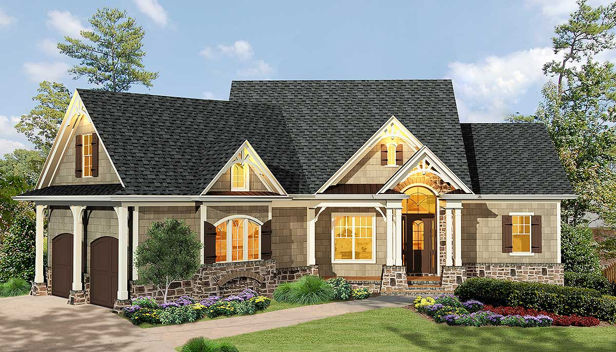 Gabled 3 bedroom ranch home plan 15884ge architectural for Small craftsman house plans with garage