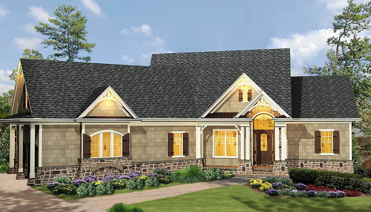 Affordable Gable Roofed Ranch Home Plan 15885GE 1st