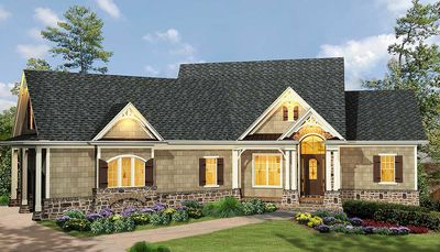 Affordable Gable Roofed Ranch Home Plan GE